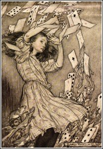 Alice_in_Wonderland_by_Arthur_Rackham_-_15_-_At_this_the_whole_pack_rose_up_into_the_air_and_came_flying_down_upon_her